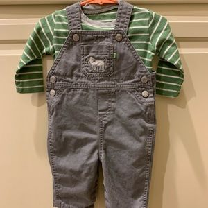 Carters 2 piece set puppy dog overalls 6 months